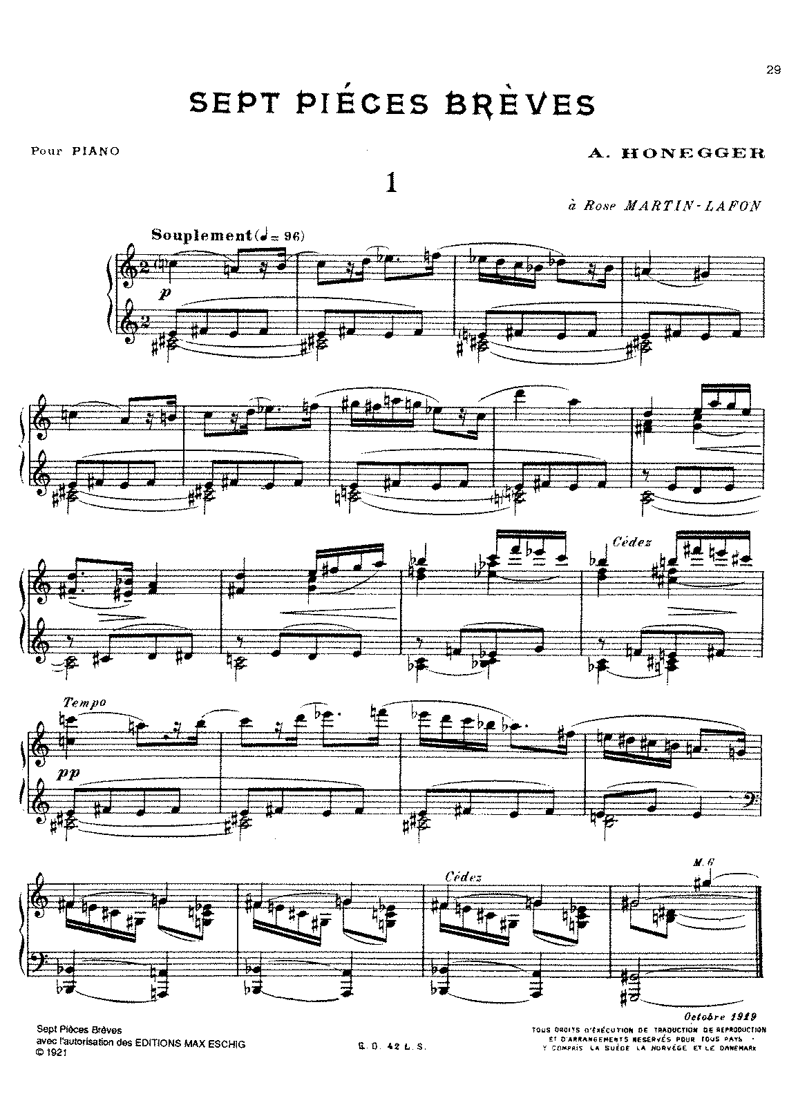 Honegger - 7 Pieces Breves (piano).pdf